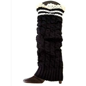 NWT Lace Trim Leg Warmers | Black